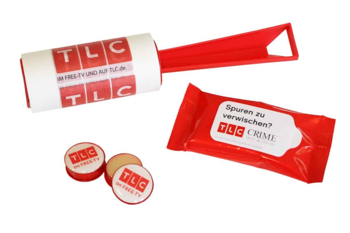 tlc-fusselrolle-individuell-bedruckt-feuchttuecher-lipbalm-lippenbalsam-merchandising-werbeartikel